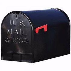 Solar Jumbo Mailbox Black Extra Large Sturdy Steel Mount Postal Rural Curbside