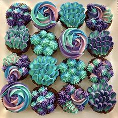 Mermaid Cupcakes by September's Cakes – www.findyourcakei… Mermaid Cupcakes by September's Cakes – www. Frost Cupcakes, Mini Cupcakes, Birthday Cupcakes, Wedding Cupcakes, Pretty Cupcakes, Cupcake Ideas Birthday, Purple Cupcakes, Pull Apart Cupcakes, Men Birthday
