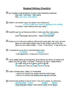 Student Writing Checklist for Self Evaluation