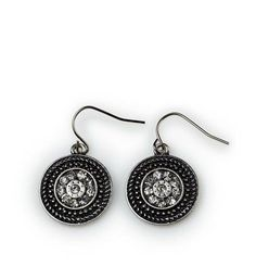 """Broadway Earrings- 1"""" These antique silver earrings are set with sparkling rhinestones for a look that takes center stage when paired with the stunning Times Square, lovely Lady Liberty or daring Fifth Avenue necklaces. $19 #broadway #yourstylemialisia"""