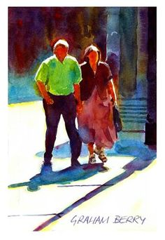 "Daily+Paintworks+-+""Couple+walking+in+the+sun.""+-+Original+Fine+Art+for+Sale+-+©+Graham+Berry"