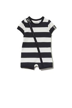 Mini SS Zip Through Romper, VANILLA/BLACK RUGBY STRIPE