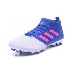 Venta 2017 Adidas ACE 17.3 Primemesh AG Blanco Azul Zapatos De Soccer