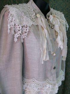 lace jacket shabby chic coat shabby cottage mori girl by LamaLuz