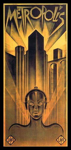 Art Deco poster for Metropolis - 1927 German expressionist epic science-fiction film directed by Fritz Lang. Arte Art Deco, Moda Art Deco, Estilo Art Deco, Art Deco Era, A4 Poster, Retro Poster, Kunst Poster, Poster Prints, Posters Vintage