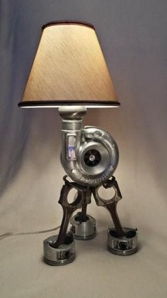 A turbo lamp to light up your work bench in the man cave Car Part Furniture, Automotive Furniture, Automotive Decor, Furniture Ideas, Furniture Design, Automotive Group, Nursery Furniture, Furniture Inspiration, Vintage Industrial Furniture