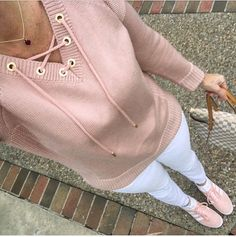 Blush pink lace up sweater and Adidas pink gazelle sneakers
