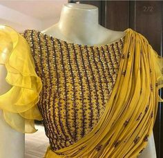 Beautiful blouse with organza frill sleeves. Sari Design, Blouse Back Neck Designs, Fancy Blouse Designs, Blouse Lehenga, Designer Party Wear Dresses, Stylish Blouse Design, Beautiful Blouses, Shopping, Churidar