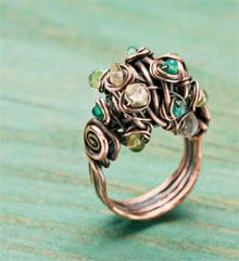 Copper Woodland Moss Ring $4.00 Project from Jewelry Making Daily Shop