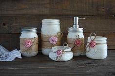 Ivory & pink soap pump set