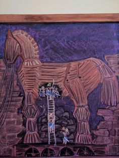 Chalkboard Drawings, Chalk Drawings, Chalkboard Art, Greek History, Ancient History, Trojan Horse, Horse Art, 5th Grades, Ancient Civilizations