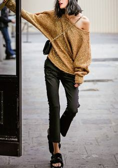 Camel Plain Sequin Off Shoulder Long Bat Sleeve Loose Fashion Casual Pullover Sweater #Gold #Sequins #Camel #Sweaters #Tops #Black #Pants #Street #Style #Fashion #Outfit #Ideas