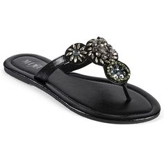 Mixit® Stone-Accented Thong Sandals Black ($12) ❤ liked on Polyvore featuring shoes, sandals, juniors, women, thong sandals, mixit shoes, black sandals, mixit sandals and kohl shoes