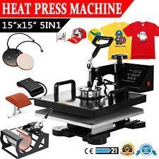"5IN1 Combo T-Shirt Heat Press Transfer 15""x15"" Printing Machine Swing Away"
