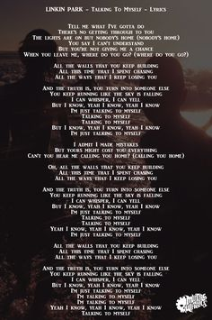 Linkin Park - talking to myself - Lyrics