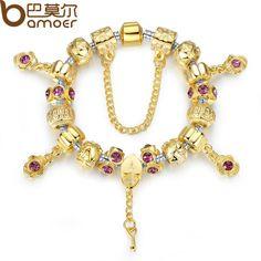 BAMOER Braceletes de charme de coração de ouro original para mulheres Jóias de presente de Natal de alta qualidade PA1427