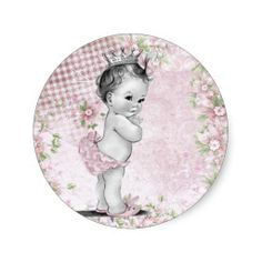 Vintage Pink Princess Baby Shower Stickers - Vintage - Baby Tips Vintage Baby Mädchen, Baby Shower Vintage, Shabby Chic Baby Shower, Vintage Pink, Baby Shower Party Favors, Baby Shower Parties, Baby Shower Themes, Baby Favors, Baby Showers
