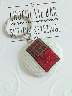 Man Made By George This is a Chocolate Bar Button Keyring. These would be perfect for any chocolate lover. They are done on butttons. Chocolate Lovers, 3 Weeks, Sunshine, Bar, Marketing, Christmas Ornaments, Button, Night, Holiday Decor