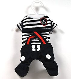SMALLLEE_LUCKY_STORE Pet Cat Dog Stripes Sailor Strap Jumpsuit Costume Small Dog Clothes Black M -- Continue with the details at the image link.