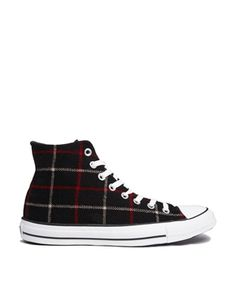 Image 1 ofConverse All Star High Top Black Plaid Trainers