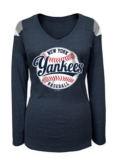 New York Yankees Womens 5th and Ocean Long Sleeve T-Shirt http://www.rallyhouse.com/shop/new-york-yankees-tshirt-heather-navy-blue-yankees-baseball-long-sleeve-vneck-88880630?utm_source=pinterest&utm_medium=social&utm_campaign=Pinterest-NYYankees $31.99