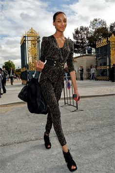 Jourdan Dunn in a velvet pants suit.