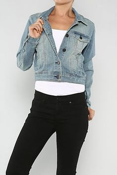 Button down fade denim jacket with long sleeves and button down closure.  75% Cotton / 23% Polyester / 2% Spandex  Machine Wash Cold Water
