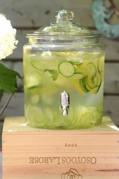 Our signature spa water is so refreshing with sliced cucumber and lemon, prefect for our summer garden party.