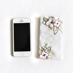 Make this adorable embroidered iPhone sleeve in just a few steps!