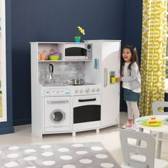 KidKraft Large Play Kitchen with Lights & Sounds - White, Multicolor