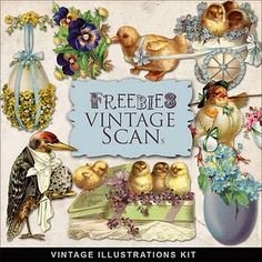 Freebies Vintage Easter. Lots of other holidays and paper backgrounds, too. Large files.