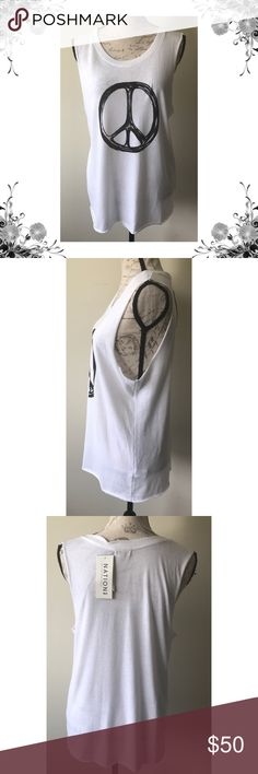 """{Nation LTD} Peace Sign Graphic Tank Top Chest across measures approx 20"""". Length is approx 27.5"""". Sleeveless. Polyester/Cotton/Rayon. Raw hem. New with tags. Bundle for discounts! 5lb bundle weight limit. Thank you for shopping my closet!  Bin 85 Nation LTD Tops Tank Tops"""