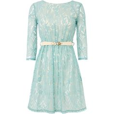 Little Mistress Long Sleeved Lace Mini Dress ($43) ❤ liked on Polyvore featuring dresses, sage, women, green long sleeve dress, green mini dress, green dress, short lace dress and long-sleeve lace dress