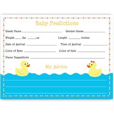 Have guests make baby guesses at your gender reveal party with this pink and blue accented ducky predictions card featuring a boy and a girl rubber duck floating on water.