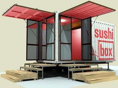 Sushi Box- a Shipping Container Restaurant (a fitting model for a micro house) in Texas... More: (http://relaxshacks.blogspot.com/2011/10/sushi-box-shipping-container-restaurant.html)