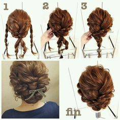 Adorable Twice Passed Chignon, Now this chignon may look tough to do, but it truly isn't. The secret is to have a firm hold on your hair and have your bobby pin prepared to end up the chignon after the pass. Complete the look with flowers or a bow. Up Dos For Medium Hair, Medium Hair Styles, Curly Hair Styles, Medium Hairs, Curly Updos For Medium Hair, Updos For Medium Length Hair Tutorial, Curly Short, Pretty Hairstyles, Braided Hairstyles