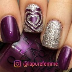 Trendy Purple Nail Art Designs You Must See - a .- Trendy Purple Nail Art Designs You Must See - Purple Glitter Nails, Purple Nail Art, Purple Sparkle, Silver Glitter, Sparkly Nails, Shiny Nails, Glitter Art, Purple Wedding Nails, Purple And Silver Nails