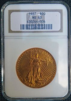 1927 St Gaudens $20 gold coin.  PCGS MS63