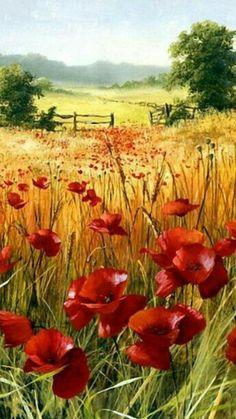 Watercolor Landscape, Landscape Art, Watercolor Flowers, Landscape Paintings, Watercolor Paintings, Poppies Painting, Watercolor Lotus, Landscape Edging, Flower Paintings