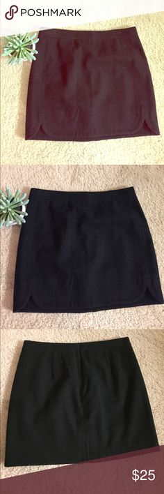 J.Crew Wool Mini Moto Skirt This j.crew mini moto skirt is adorable in the fall or winter with black tights and heels or boots and a cute top. It's just warm enough because of the fabric. J. Crew Skirts Mini