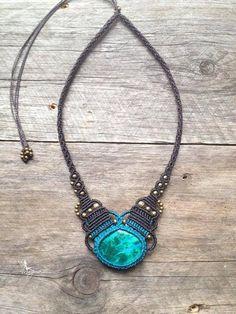 Micro macrame necklace Oval Stone - Custom order - boho jewelry micro-macrame necklace tribal