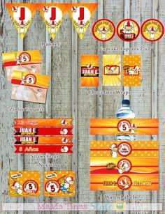 KIT Fiesta Kick Buttowski - Party Labels KIT - Ideas fiestas Kick Buttowski - Etiquetas para fiestas personalizadas - Kit imprimible Kick Buttowski