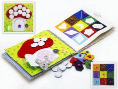 Ruhige aktive Buch Stoff gemacht ist für Kinder ab 2 Jahren empfohlen. Es besteht aus 4 Blätter. Auf jeder der 6 Seiten gibt es verschiedene Arten von