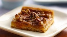 Quick Crescent Pecan Pie Bars: refrigerated crescent dough makes this pecan bar recipe simple and quick to prepare. I'm so making this this year instead of pie! Just Desserts, Delicious Desserts, Yummy Food, Fun Food, Tasty, Baking Recipes, Cookie Recipes, Dessert Recipes, Crescent Recipes