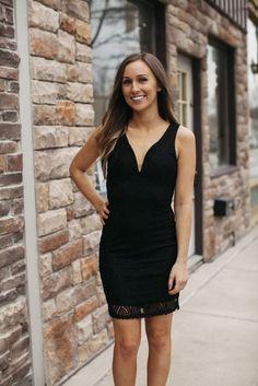 Black Deep V Body Con Dress | Lane201 Boutique