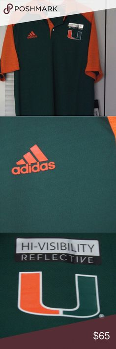 MIAMI HURRICANES ADIDAS NCAA SIDELINE CLIMATE POLO - Imported. - BODY: 100% Polyester / SLEEVE: 100% Polyester. - Machine wash cold. - Climate polo shirts are probably the most comfortable shirt on the market today. Each is made for ventilation and moisture management and provide optimun comfort and performance. Perfect to casual day or the fairway and features the high density screen printed team logo on left chest and ADIDAS on the right chest, reflective buttons, solid color body and…