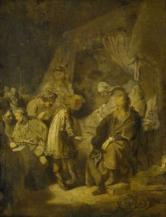 """Joseph Tells His Dreams to Jacob"" in 1633 by Rembrandt (Leiden 1606 - Ámsterdam 1669). Oil on paper(51cmx39cm). Rijksmuseum, Amsterdam. Joseph was son of Jacob (third patriarch of the Hebrew people with whom God made a covenant, and ancestor of the tribes of Israel), lived in the land of Canaan with eleven brothers and one sister. Jacob's favoritism toward Joseph caused his half brothers to hate him, he had two dreams that made his brothers plot his demise."