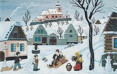 Josef Lada / Co přináší zima (recenze) Art And Illustration, Artist Names, Winter Scenes, Cottage Chic, Four Seasons, Illustrators, Folk Art, Christmas Cards, Clip Art