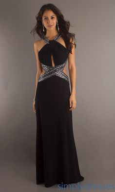 Sexy Black Halter Gown, Betsy & Adam Formal Dress- Simply Dresses