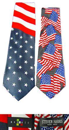 Assorted Designer Men's Neck Ties American Flag Designs, Brand New